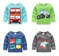 2016 Outono Vestuário Infantil Do Bebê Meninos Pescoço Roud Caixa Da Longo-Luva do Algodão T-Shirt Impressão Camisa Básica Tops Frete Grátis