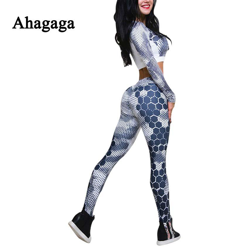 Ahagaga 2017 Autumn Winter Women Tracksuits Sets Fitness Print Women Suit Set Costume 2 piece Sexy