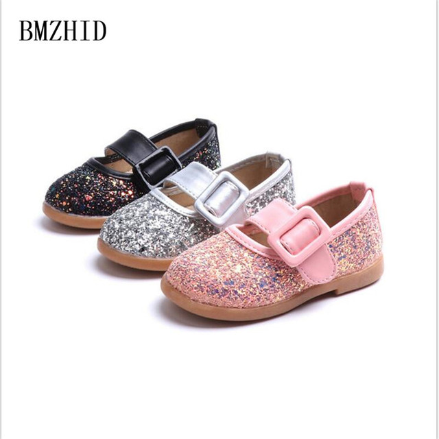 Shiny Girls Sequin Flats 2018 New Fashion Kids Toddler Shoes for Girls  Princess Leather Shoes 1-6 years Children shoes girl a364a2d66597