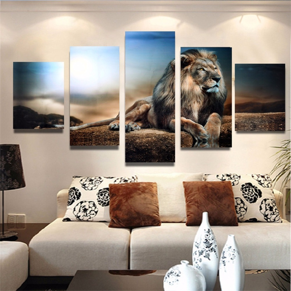 5 Pieces Animal Canvas Art Print Poster Canvas Painting Wall Pictures Brown Fierce Lion for Living Room Home Decor No Frame