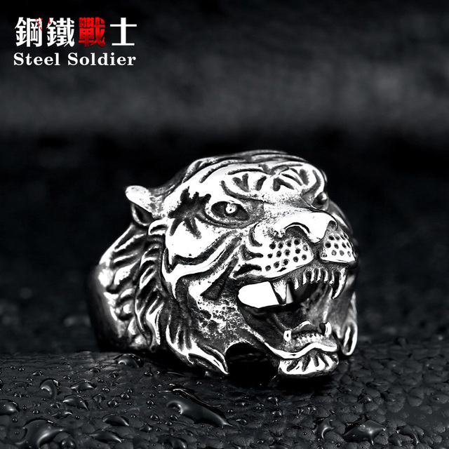 steel soldier punk personality tiger ring for men stainless steel good detail an