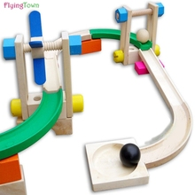 Wooden Patchwork Building Block Roller Coaster Ball Ball Rail Building Block Wood Child Early Learning Toys