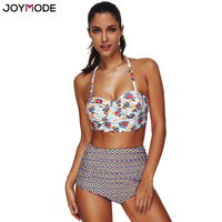 JOYMODE 2017 Newest Design High Waist Floral Printed Women Swimwear Swimsuit Push Up Sexy Bikini Set