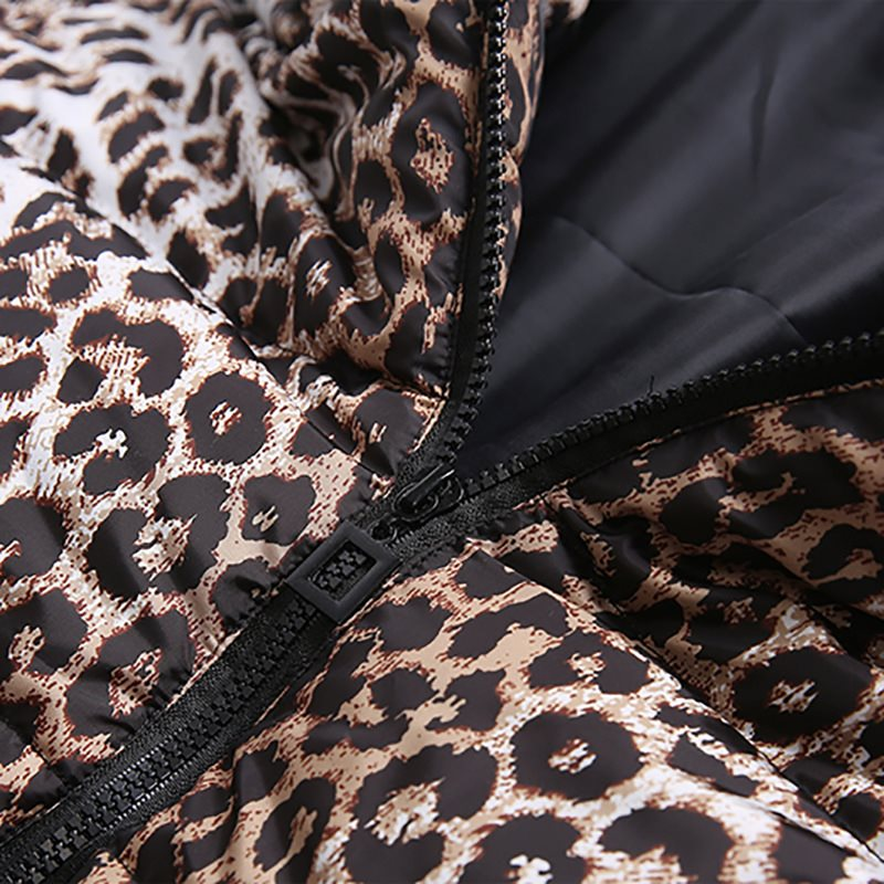 Casual Cotton Winter Fur Jackets Plus Size Women Coat Slim Print Leopard Jackets Female Parkas High Street Fashion Long Overcoat in Parkas from Women 39 s Clothing