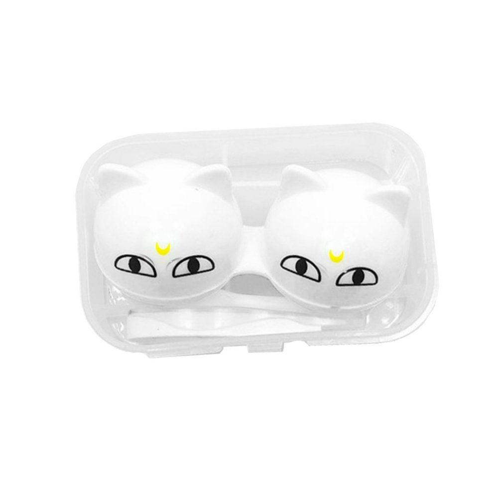 Free Delivery Cartoon Contact Lens Double Box Eye Care Kit Portable Contact Lens Box Home Travel Storage Mirror Box