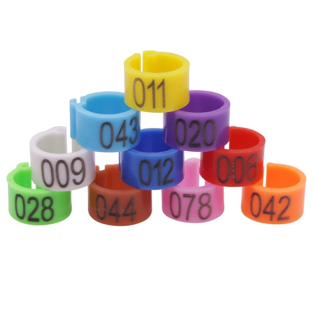 100 pces pigeon logotipo pé anel 1-100 número dez cores pássaro pé anel fora diâmetro 10mm/interior diâmetro 8mm pássaro accessorie