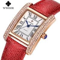 WWOOR Quartz Watch Brand Women Watches Genuine Leather Square Dial Luxury Rhinestone Dress Watch Ladies Wristwatch