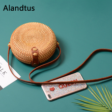 Alandtus Straw Crossbody Bags For Women Casual Shoulder Bag 2019 Summer Handmade Woven Beach Handbags Ladies Messenger Bag Bolsa straw cotton rope beach bag summer crossbody bags for women 2019 handmade brand shoulder messenger shopping bag women bag