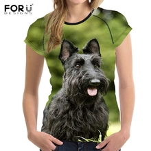 FORUDESIGNS 3D Scottish Terrier Printed T Shirt Women Funny Dog T-shirt Teenagers Summer Tees for Females Kawaii Clothing Tops