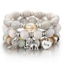 3-4 шт./компл. модные браслеты в стиле бохо браслеты Для женщин камень браслет из бисера с красочными жемчужные длинные Обёрточная Бумага браслет для Для женщин