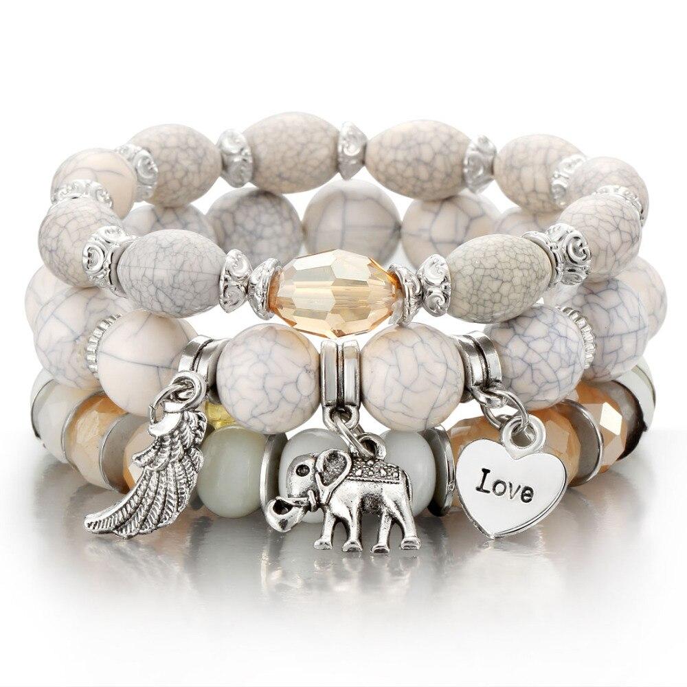 Prix incroyable 3-4 pièces/ensemble mode Boho Bracelets et Bracelets femmes Bracelet perlé avec gemme colorée longue enveloppe Bracelet pour les femmes