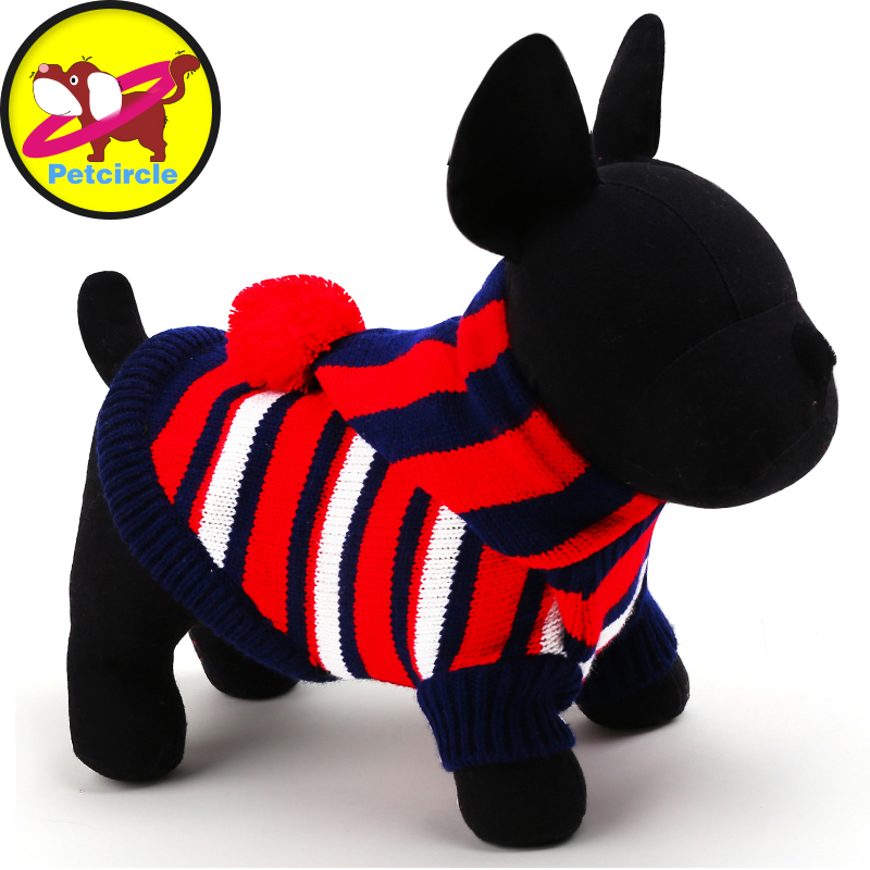 Petcircle Hot Sale Striped Dog Sweater Soft Pet Coats Hoddies Clothes 2 Colors Size XXS XS S M L For Small And Large Dogs