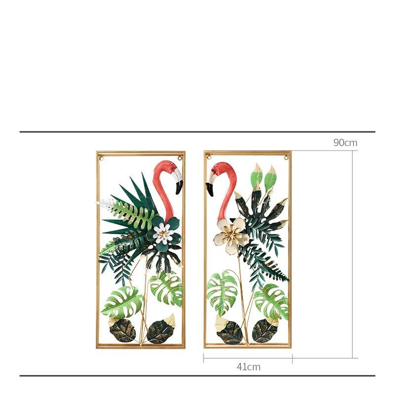 Européen fer forgé Flamingo tenture murale oiseaux décoration artisanat hôtel maison couloir mur autocollant métal plante murale ornements - 6