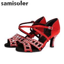 Samisoler Satin Style Ballroom Dance Shoes Women with Black Party ladies Latin shoes tango Professional