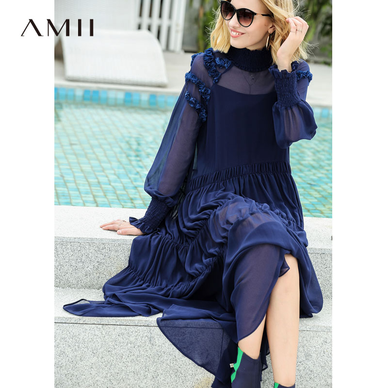 Amii Women Minimalist 2018 Autumn Maxi Dress Chiffon Chic Flare Flower Perspective Female Dresses Romantic