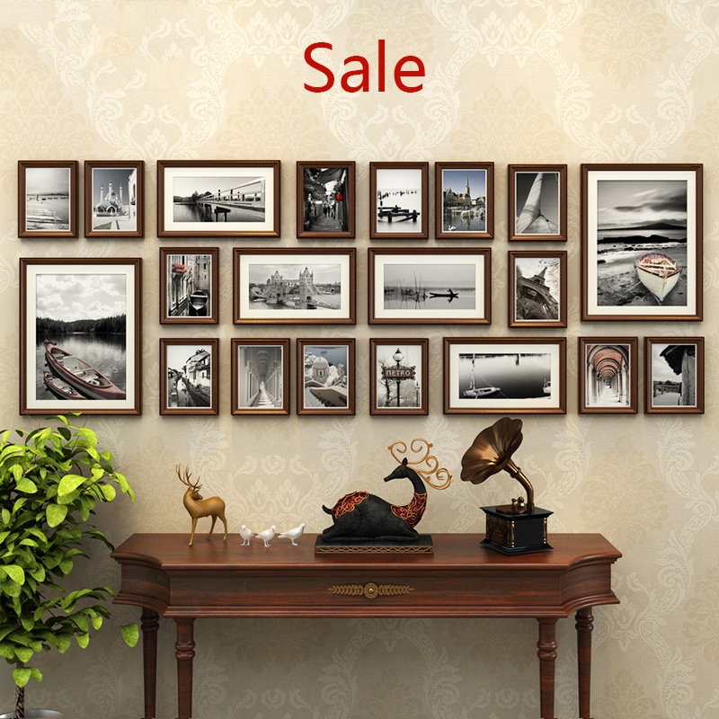 20pcs picture frames cadre photo style wooden hanging wall. Black Bedroom Furniture Sets. Home Design Ideas