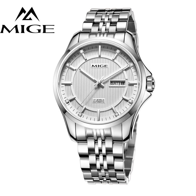 MIGE Watches Men Mechanical Wristwatch Calendar Date Synthetic Sapphire Crystal Rhinestones Water Resistant Full Stainless Steel mige fashion quartz watches men synthetic sapphire crystal rhinestones japan movement genuine leather watchband relogio feminino