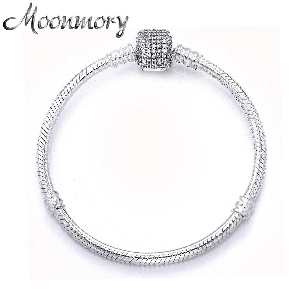 Nice Bangle 925 Silver Silver Bracelet With Lock Fine Bracelets Jewelry & Watches