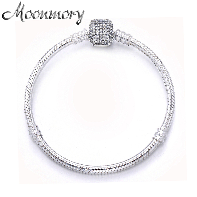Moonmory Classic 925 Sterling Silver Bracelet Match Original CZ Pave Stone Lock Charm Making Love Gift for Women Snake Bracelet