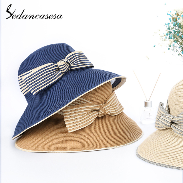 23e474e66be Sedancasesa New Summer Hats for Women Straw Sun Visors Cap Hand Made  Bowknot Ladies Hat Travel