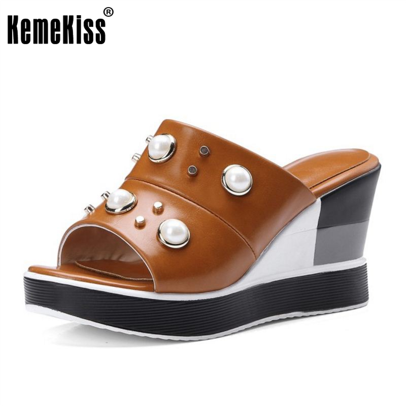 где купить KemeKiss Size 34-40 Women High Heels Wedges Sandals Ladies Pearl Rivets Peep Toe Shoes Women Thick Platform Fashion Slippers по лучшей цене