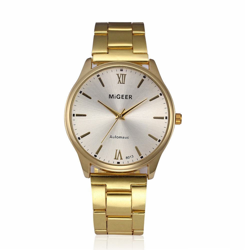 MIGEER Fashion Man Crystal Stainless Steel Analog Quartz Wrist Watch luxury watch men wrist watch montre male clocks saati fashion watch stainless steel man quartz analog wrist watch