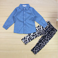 new 2017 kids clothes girl long sleeve denim shirt + leopard pants 2 pcs sets roupas infantis menina