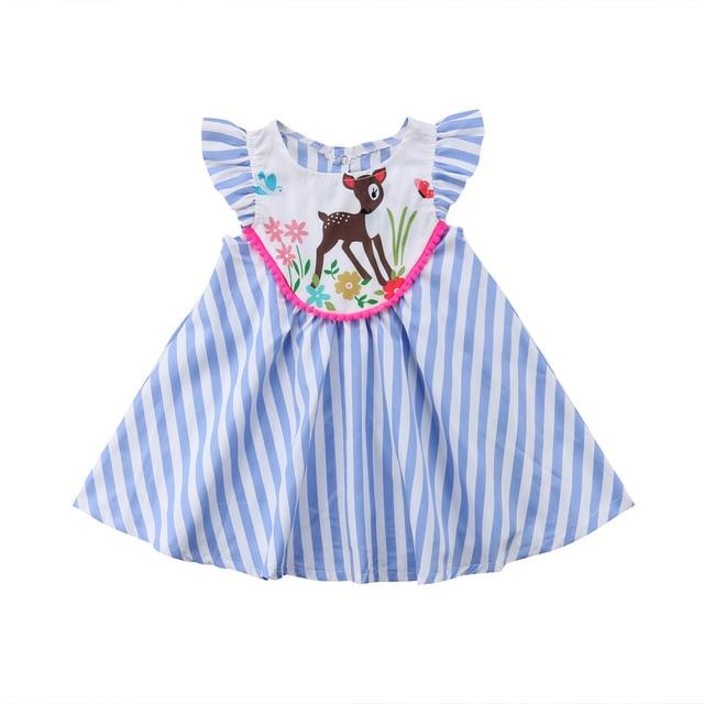 bfaadd65b806 Kids Baby Girls Striped Cartoon Animals Printed Dress Cute ...