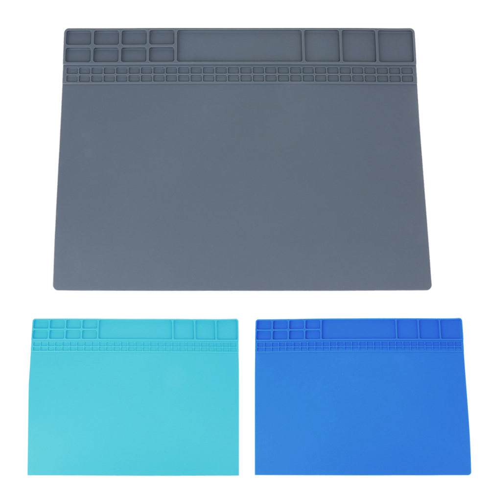 1pc 405x305 Mm Heat Insulation Silicone Pad Desk Mat For Electrical Soldering Repair Station Maintenance Platform