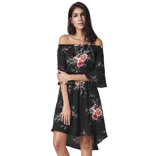 b9f7191ff5cc7 خط الرقبة النساء اللباس مثير printted اللون جرس الأكمام الصيف الساخن بيع  فساتين السيدات الأنيق سليم
