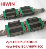 2 шт. 100% Оригинал Hiwin Линейные направляющей HGR15 L 1800 мм + 4 шт. HGW15CA HGW15CC Линейный Фланец каретка для ЧПУ