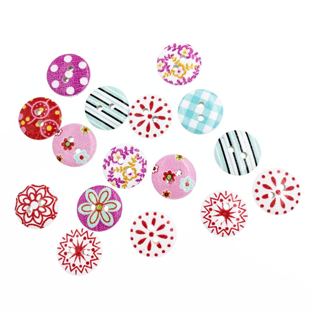 100Pieces Colorful Baby Wooden Buttons For Clothing Scrapbooking Accessories Decorative Button Craft Sewing Supplies Botao 15mm