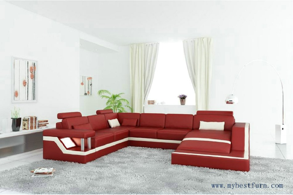 Free Shipping Modern Sofa U Shaped, Passion Red Hot Sale Genuine Leather  Sofa Set,