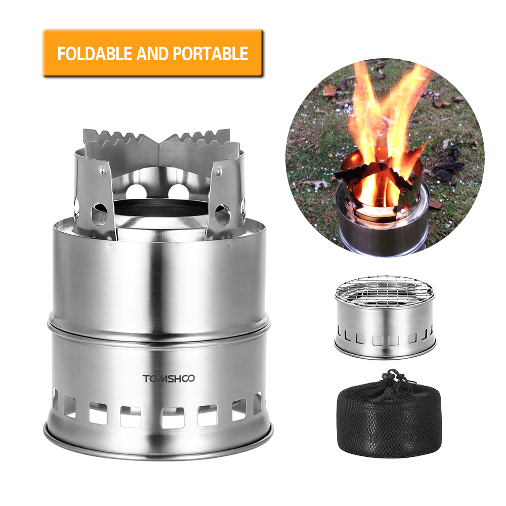 Image 3 - TOMSHOO Portable Folding Windproof Wood Burning Stove Compact Stainless Steel Alcohol Stove Outdoor Camping Hiking Backpacking-in Outdoor Stoves from Sports & Entertainment