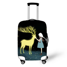 цена на Cartoon illustration print on suitcase luggage travel luggage protective cover anti-dust trolley cover for 18 to 30 inch bag