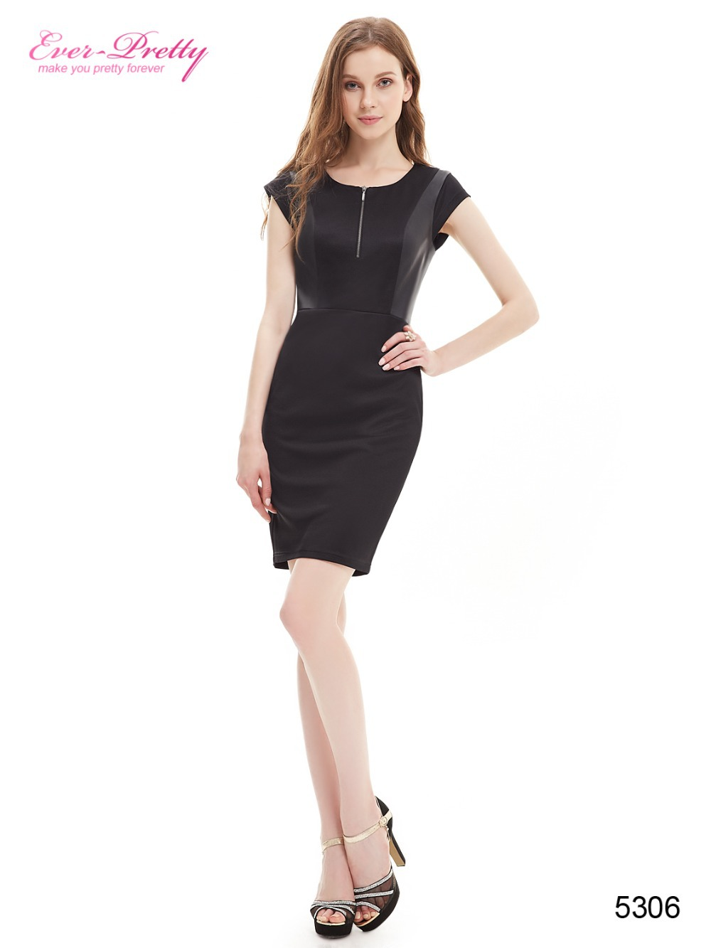 Clearance Sale  Black Sexy Cocktail Dresses Ever-Pretty Stylish Stretchy  Short Sleeve Dresses Women Casual Dress HE05306BK 8bf9a6ec851d
