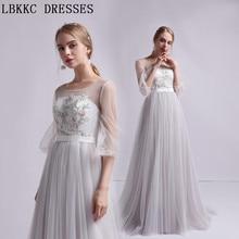 Unique Beach Wedding Dress Long Sleeve Vestido De Noiva Tulle Embroidery Robe  De Mariee Light Grey 3fbe49b0a
