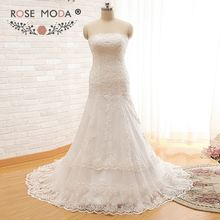 Rose Moda Strapless Plus Size Trumpet Wedding Dresses