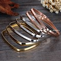 7pcs/set 70mm*55mm Fashion Jewelry 316L Stainless Steel Silver Gold Rose Gold Plated Sexy Girl & Women's Square Bangle Jewelry