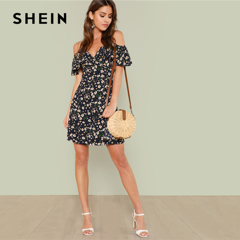 0e3f44768aa Aliexpress.com   Buy SHEIN Open Shoulder Wrap Neck Floral Dress 2018 Summer  V Neck Sleeveless Cold Shoulder Vacation Dress Women Beach Cool Dress from  ...