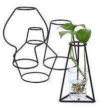 Brief Creative Iron Shelving Flower Vase Metal Frame Glass Garden Modern Home Decor