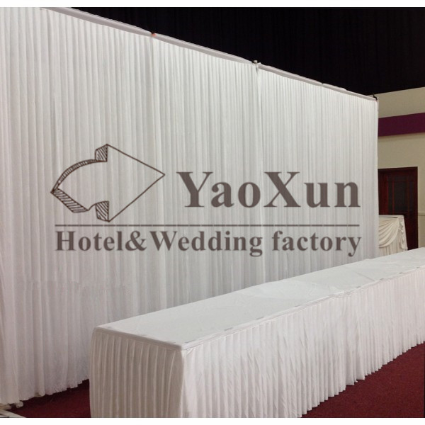 3M*6M Hot Sale White Wedding Backdrop Stage Curtains