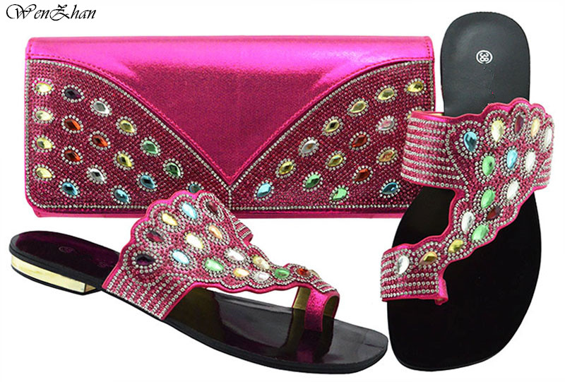 Shoes and Bag Set Sets Fuchsia New Arrive Ladies Italian Shoes and Bag Set Decorated with Rhinestone Nigerian Shoes B88-17Shoes and Bag Set Sets Fuchsia New Arrive Ladies Italian Shoes and Bag Set Decorated with Rhinestone Nigerian Shoes B88-17