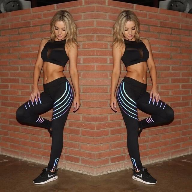 Plus Size XXXL Laser Reflective Legging Women'S Yoga-Pants Big-Girl Sport Fitness Leggings Tranining Running Joggers Sweatpants 1