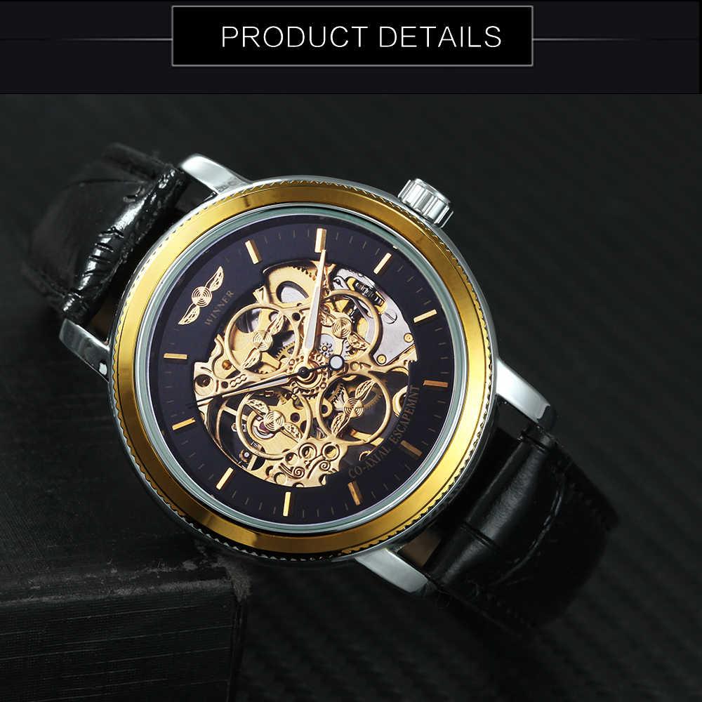 2019 WINNER فريد تصميم الازياء النساء اليد الرياح الميكانيكية ساعة الهيكل العظمي الهاتفي ساعة يد بحزام من الجلد للسيدات