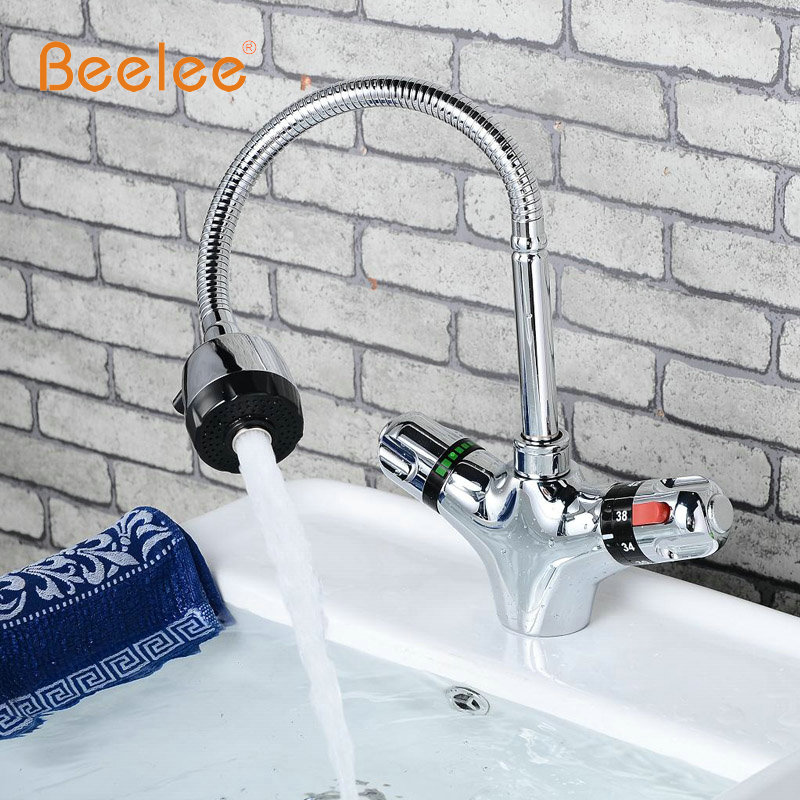 ФОТО Beelee Thermostatic Kitchen Faucets,Dual Handle Auto-Thermostat Control Faucet Mixer Taps Bathroom Faucet BL0207A