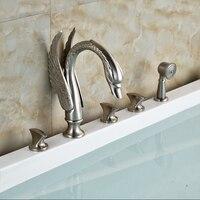 Sang trọng Nghệ Thuật Swan Phong Cách Bồn Tắm Vòi Set Sàn Núi 5 cái Bath Shower Mixer Tap Sen Tay với