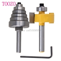2Pcs Cemented Carbide Rabbet Router Bits 1 4 Shank With 6 Adjustable Bearing