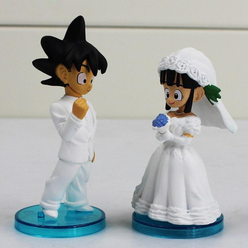 2Pcs/Set Anime Dragon Ball Goku ChiChi Wedding PVC Figure Toys Gokou ...