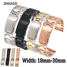 QSSZ 18mm 20mm 22mm 24mm 26mm 28mm 30mm Paslanmaz Çelik saat kayışı Katı Klasik kayış Metal Watchband kol saati